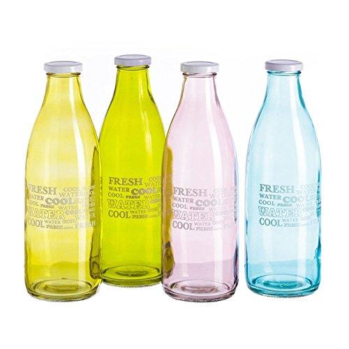 Botella moderna cristal capacidad 1 litro . (Azul)