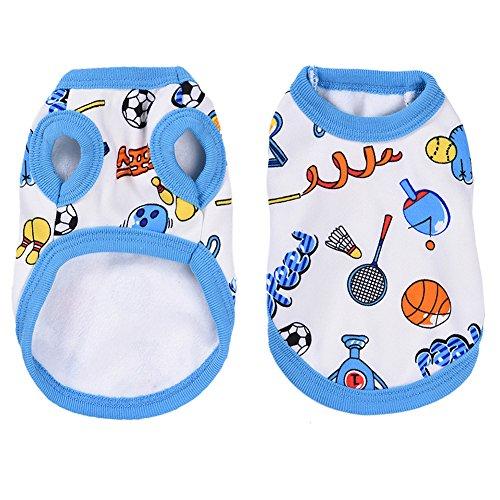 Haustier Hunde Katze Pyjamas mit Nettes Fußball Muster, Weich Alle Jahreszeiten Haustier Schlafanzug Jacken für Kleine Hunde - (Weibliche Fußball Kostüme)