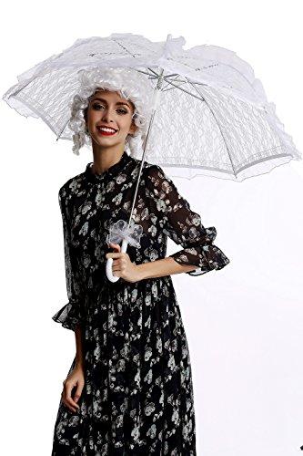 DRESS ME UP YS-001W Parasol Spitze Sonnenschirm Barock Rokoko Viktorianisch Biedermeier Weiß Gothic...