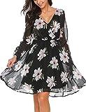 Beyove Damen Rundhalsausschnitt Chiffonkleid Langarm Printkleid Blumenkleid Abendkleid Rockabilly A Linie Freizeitkleid Strandkleid Cocktailkleid Herbstkleid Kuchen Rock Kleid Asymmetrischem Saum