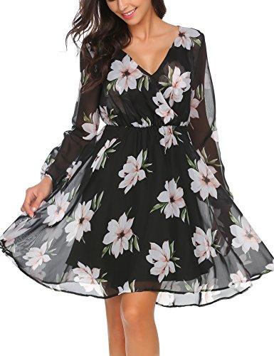 Beyove Damen V Ausschnitt Chiffonkleid Langarm Printkleid Blumenkleid Abendkleid Rockabilly A Linie...