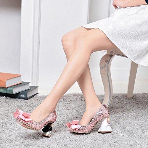 Poupée de mariée et le marié avec paillettes, mignon printemps et automne mariage super confortable grand arc chaussures chaussures en cuir dazzle pink