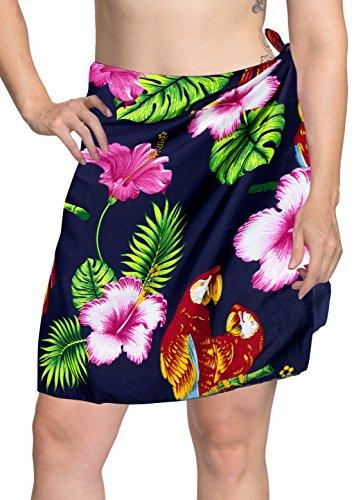 La Leela likre Hibiskus Papagei Strand Bikini Rock Frauenbadeanzug Sarong blau (Hibiskus Leela La)