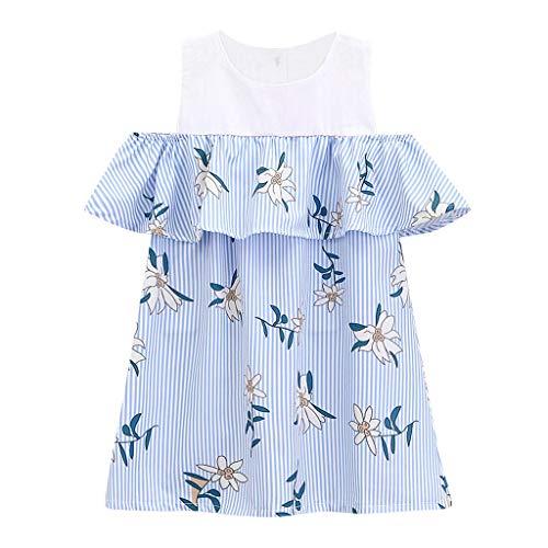 Julhold Toddler Kids Baby Girl Elegante Spalle Scoperte Stampa Floreale Principessa Increspato Abiti Casual Abiti 2-7 A