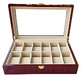 Bearhouse Uhrenbox Uhrenschatulle Uhrenkoffer für 12 Uhren Uhrenkasten Holz Rot