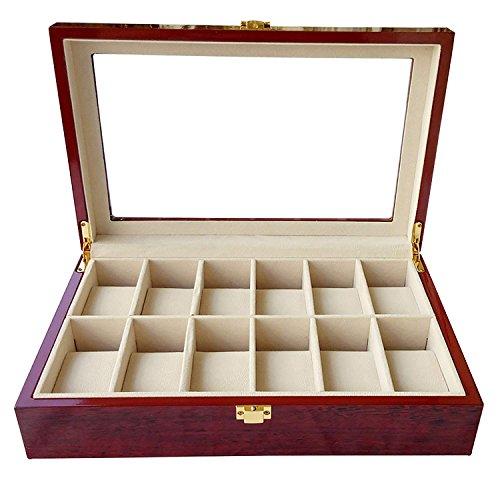 Bearhouse Uhrenbox Uhrenschatulle Uhrenkoffer für 12 Uhren Uhrenkasten Holz Rot - Boden Stehendes Glas
