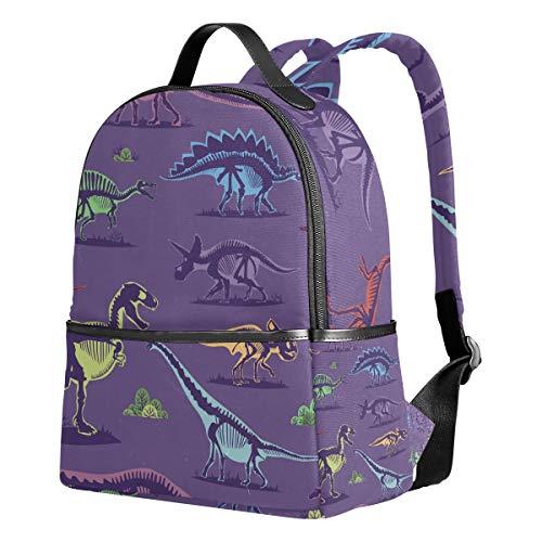 Ahomy Rucksack für Mädchen, süßes Dinosaurier-Skelett lila Hintergrund Vintage Rucksack Schule Buch Taschen Casual Daypacks für Reisen und Sport