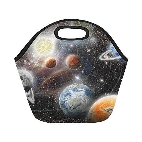 Isolierte Neopren-Lunchpaket Alien Planet Star System Space Große wiederverwendbare thermische dicke Mittagessen-Tragetaschen für Lunch-Boxen für im Freien, Arbeit, Büro, Schule