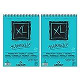 Canson XL Aquarelle Cuaderno de papel para dibujo, con espiral superior, 30hojas, grano fino, 300g, A4,color blanco-Lote de 2
