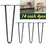 Haarnadel-Tischbeine, Schwarz, modernes Design, Metall, mit Stab, Antik, zum Basteln, für Möbel, Tisch, Schreibtisch-Schrank (4Stück)