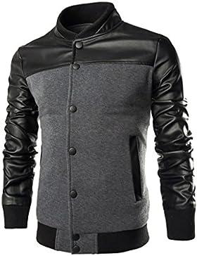 WSLCN - Chaqueta de traje - Blusa - Básico - cuello mao - Manga Larga - para hombre