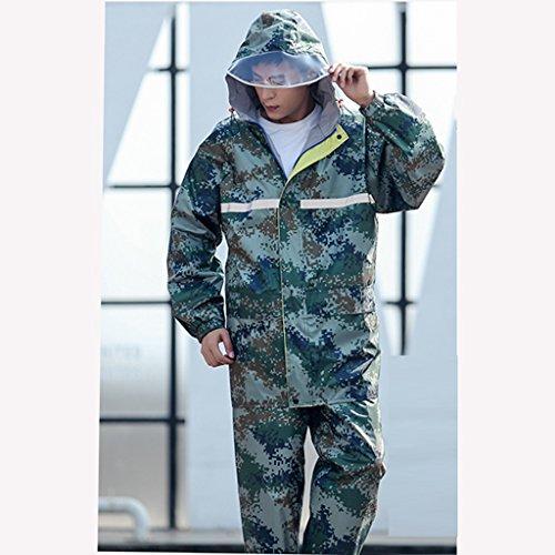 GLJJQMY Impermeabile uomo Impermeabile da uomo all'aperto adulto impermeabile pantaloni antipioggia tuta aperta Camouflage impermeabile addensare viaggio equitazione alpinismo impermeabile cintura tas