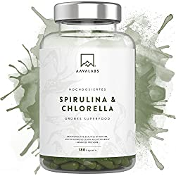 Spirulina Chlorella Kapseln [ 1800 mg ] 180 Stück von Aava Labs - Eine Mischung von hochwertigen Pflanzeninhaltsstoffen aus dichten blauen Algen - Für Smoothies und Säfte besonders geeignet - 100% vegan und glutenfrei - In unabhängigen Laboren getestet - In Europa hergestellt.