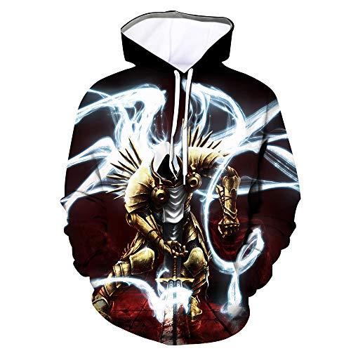 Denkqi Unisex 3D Druck Hoodie Kapuzenpullover Langarm Sweatshirt Kapuzenjacke Mit Tunnelzug Pullover Taschen Top Shirt Weihnachten Herbst Diablo II S
