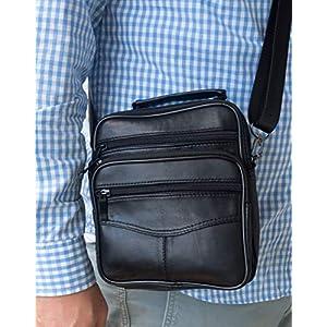51gFR8k143L. SS300  - Bolso Bandolera pequeño de Piel auténtica para Hombre, Bolso de Negocios (Negro)
