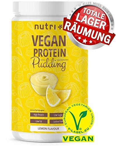 PROTEIN PUDDING VEGAN Zitrone 500g - 84,4% Eiweiß - nur 113 Kalorien - Low Sugar Dessert - Zitronenpudding - Laktosefrei - Kalorienarm - Glutenfrei - Hergestellt in Deutschland