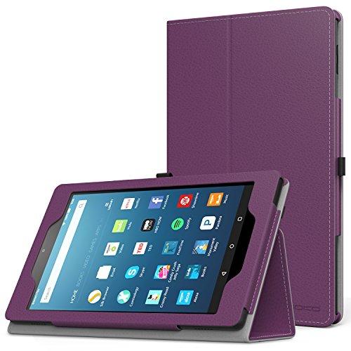 MoKo Étui Housse pour tablette Fire HD 8 - Fin et Pliable pour Tablette Fire HD 8 (6ème génération - modèle 2016), Bleu (Auto Réveil / sommeil) A-Violet