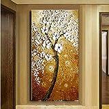 Gbwzz Handgemalte abstrakte Blumen Öl auf Leinwand Home Decor Wandkunst Bilder weiße Klinge Blumenbilder groß für Korridor,60x120cm
