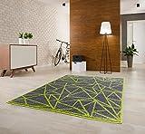 Luxus Designer Teppich Kurzflor GemustertDunkel Grau-Grün Verschiedene Größen (200mx290cm)