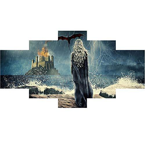 Tela Wall Art, 5 Pz Il Gioco Dei Diritti Daenerys Tela Pittura A Olio...