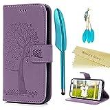Mavis's Diary S7 Edge Tasche Hell Lila Drucken Laub Baum mit Cute Eule Hülle für Samsung Galaxy S7 Edge Handyhülle PU Ledertasche Abdeckung