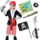 Tacobear Piratenkostüm Kinder Jungen mit Piraten Zubehöre Piraten Augenklappe Bandana Flagge Dolch Fernrohr Schatzkarte Halloween Cosplay Piraten Kostüm Kinder