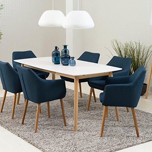 Green Spirit Esstisch 180 x 90 cm Weiß Natur vorbereitet für Ansteckplatten Eiche Esszimmertisch Echtholz Tisch Massiv Modern