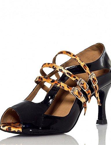 Sandales Femmes personnalisables mode moderne Chaussures de danse de bal du Latin / Jazz / Swing / chaussures / Salsa Samba Bleu Talon personnalisés / Leopard US10.5 / EU42 / UK8.5 / CN43