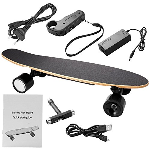 Beautytalk Elektro-Longboard Elektrisches skateboard Portable E-Board 350W 20km/h mit Fernbedienung und Motor für Kinder & Jugendliche(DE Lager) (Schwarz)