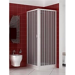Rollplast – Mampara de ducha de dos puertas con cierre de ángulo de 90ºProducto de PVC no tóxico autoextinguible.Se puede reducir en tamaño mediante el corte del carril.Color: blanco.