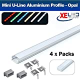 (4 x Packs) 2 Meter Mini U-Line Aluminium LED Profile / Extrusion / Channel with Opal (Milky) Diffuser for Mounting Flexible LED Strip Lighting by XE LED Solutions