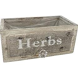 Küchengarten: Kräuterkiste für Ihren Kräutergarten - Pflanzgefäß aus Holz im Schubladen Design, 22 x 12 x 12 cm, Vintage Look