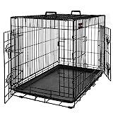FEANDREA Jaula Metálica para Perros, Transportín Plegable para Mascotas, XXL, 106 x 70 x 77,5 cm, Negro PPD42H