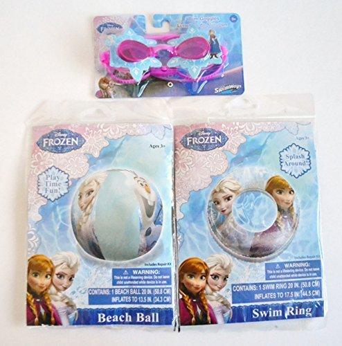 Bundle 3 Disney Frozen Water Pool Swim Toy Set: Goggles, Beach Ball, Swim Ring by SwimWays (Frozen-pool Disney)