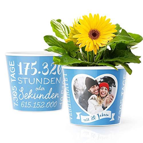 Facepot Porzellanhochzeit Geschenk - Blumentopf (ø16cm) | Deko Geschenke Zum 20. Hochzeitstag oder Porzellan Hochzeit mit Herz Bilderrahmen für 1 Foto (10x15cm) | Glücklich Verheiratet - 20 Jahre (20 Hochzeit Jahrestag Geschenke)