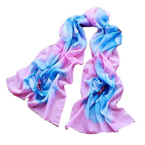SUCES Women Soft Thin Chiffon Silk Scarf Flower printed Scarves Wrap Shawl Schal Damen Tuch tolle Halstücher weiche Qualität viele Farben Muster Tücher Halstuch Schals (Sky Blue) (Silk Chiffon Scarve)