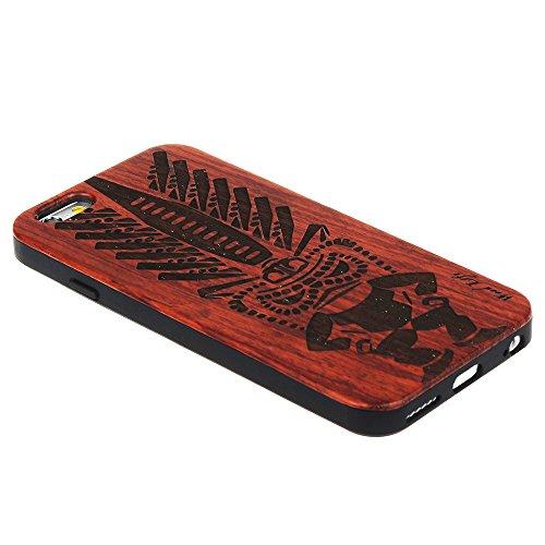 Forepin® Coque en Bois Naturel & Plastique pour iPhone 5S/ 5/ SE Anti Choc Case Santal Réel Etui Couvert et Housse Tribu