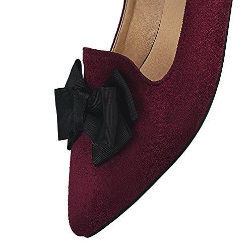 VogueZone009 Femme Fermeture D'Orteil Pointu Tire Suédé Couleur Unie à Talon Bas Chaussures Légeres Rouge Vineux
