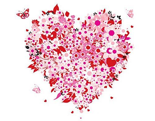 Wandbild Aufkleber No. 321Floral Retro Heart, Wandtattoo, Wandaufkleber, Tattoos, Wand Aufkleber (Tattoos Floral Temporäre)