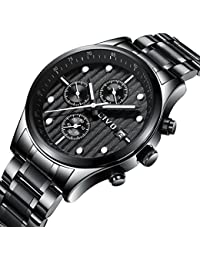 CIVO Mens Black Chronograph Watches Men Multifunctional Date Calendar Stainless Steel Watch Luxury Business Fashion Gents Wrist Watches Casual Dress Waterproof Analogue Quartz Watch for Men (White)
