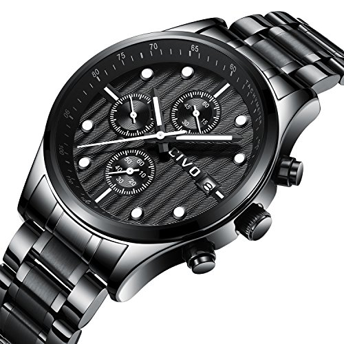 501f65401 CIVO Mens Black Chronograph Watches Men Multifunctional Date Calendar  Stainless Steel Watch Luxury Business Fashion Gents Wrist Watches Casual  Dress ...