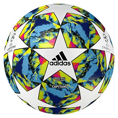 a4fa178947262 adidas Men's FINALE 19 CPT Soccer Ball, top:White/Bright Cyan Yellow/Shock  Pink Bottom:Collegiate Royal/Black/Solar Orange, 4