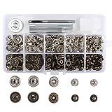 FOGAWA Druckknöpfe Set 50 Pcs 15mm Silber Druckknöpfe Nieten Bronze für Jeans Kleidung mit 3 Stücke Befestigungswerkzeug und 1 Aufbewahrungsbox