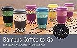 ebos Glücksbringer Coffee-to-Go-Becher aus Bambus | Kaffee-Becher | wiederverwendbar, natürliche Materialien, umweltfreundlich, lebensmittelecht, spülmaschinengeeignet (Mandala Spirit pink) - 5