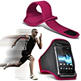 ( Pink 145 x73) Medion Life P5005 case High Quality Fitted Sports Armbands Running Bike Cycling Gym Jogging Ridding Arm Band case cover by i-Tronixs