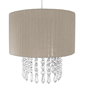 Grey Voile Pendant Ceiling Light Shade with Hanging Beads
