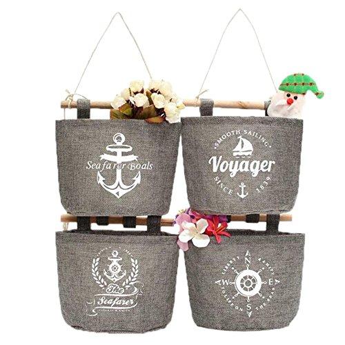 Fablcrew 4 Stück Wand Hängeorganizer Wandtaschen Baumwolle Aufbewahrungstasche hängenden Hängeaufbewahrung Beutel Maritime Tür zurück Aufbewahrungstasche -