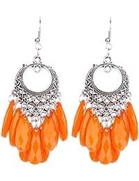 Chooseberry Oxidized German Silver Afghani Earrings With Black Stone Hangings Hook Earrings For Women (Blue, Red...