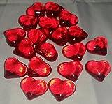 30 rot-groß-Herz-en-Deko-Steine-Diamanten-für-Hochzeit-Geburtstag-Valentin-Tag-ca.2 cm x 2 cm Tisch-deco-Tau-Tropfen-Glas-Perlen-vom Sachsen Versand