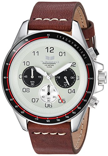 Vestal 'ZR2' Quartz Stainless Steel and Leather Casual Watch, Color:Brown (Model: ZR243L03.BRWH)